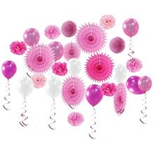 Girl Birthday Decorations Set Pink Fuchsia Happy Banner DIY Paper Pom Poms  Flowers Heart Foil Balloons Decor