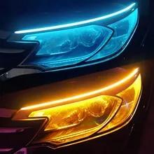 2pcs LED DRL 자동차 주간 러닝 라이트 유연한 방수 스트립 자동 헤드 라이트 화이트 턴 신호 노란색 브레이크 흐름 조명 12V
