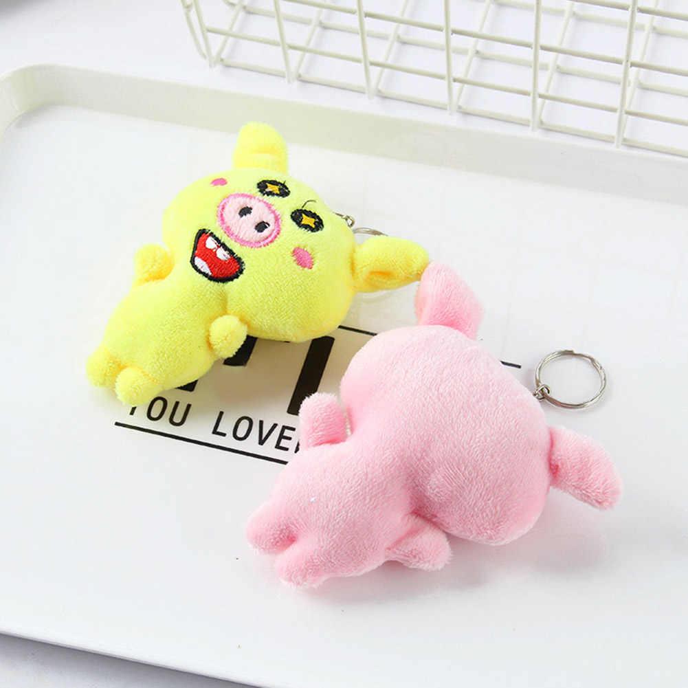 Bonito porco boneca de pelúcia carro chaveiro chaveiro saco pendurado pingente crianças brinquedo presente novo