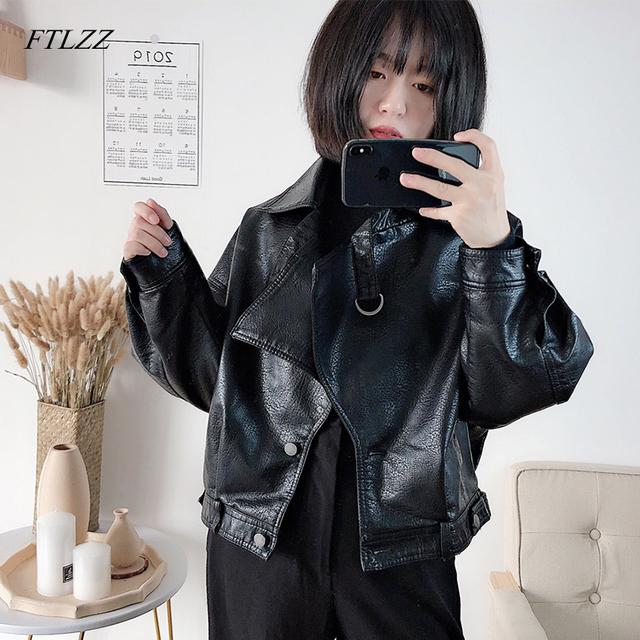 FTLZZ New Autumn Women Faux Leather Jacket Vintage Boyfriend Style Coat Batwing Sleeve Short Motor PU Jackets Biker Outwear