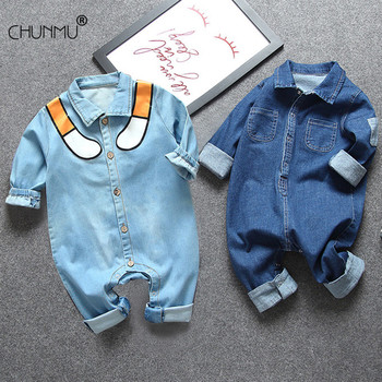 Noworodek ubrania dla niemowląt ubrania dla niemowląt stroje dla niemowląt chłopcy pajacyki dla dzieci bawełna elastyczny Denim kostium dla dziewczynek kombinezon dla niemowląt tanie i dobre opinie CHUNMU COTTON Octan CN (pochodzenie) Unisex W wieku 0-6m 7-12m 13-24m 25-36m 3-6y Zwierząt Z kapturem zipper Pełna Baby Rompers