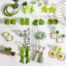 Fresh Sweet Green Avocado Flower Geometric Tassel Bow Knot Cute Acrylic Dangle Drop Earrings Korean Fashion Jewelry-DDE(China)