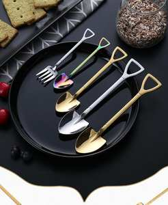 Spoon-Fork Cutlery-Set Coffee-Ice-Cream-Tools Kitchen-Accessories Stainless-Steel Dropship