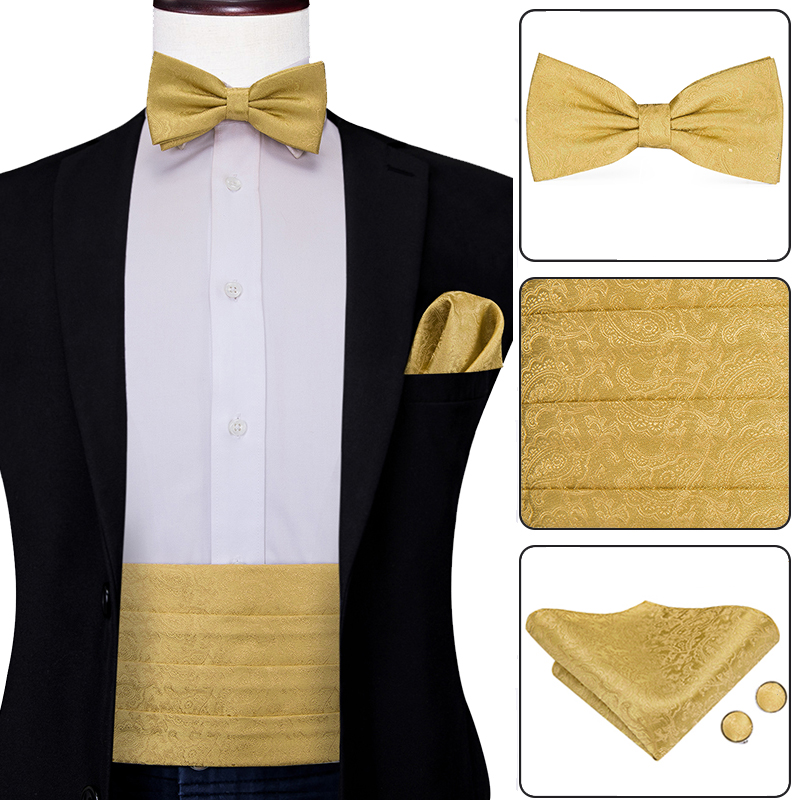 Hi-Tie Luxury Silk Adult Men's Cummerbunds Gold Bow Tie Sets Hanky  cufflinks Set Formal Wedding Party Tuxedo Cummerbund Elastic - buy at the  price of $4.90 in aliexpress.com | imall.com