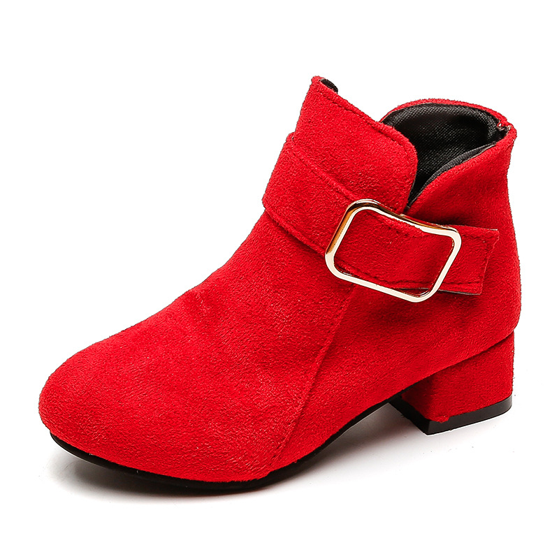 High Heeled Girl Snow Boots Leather
