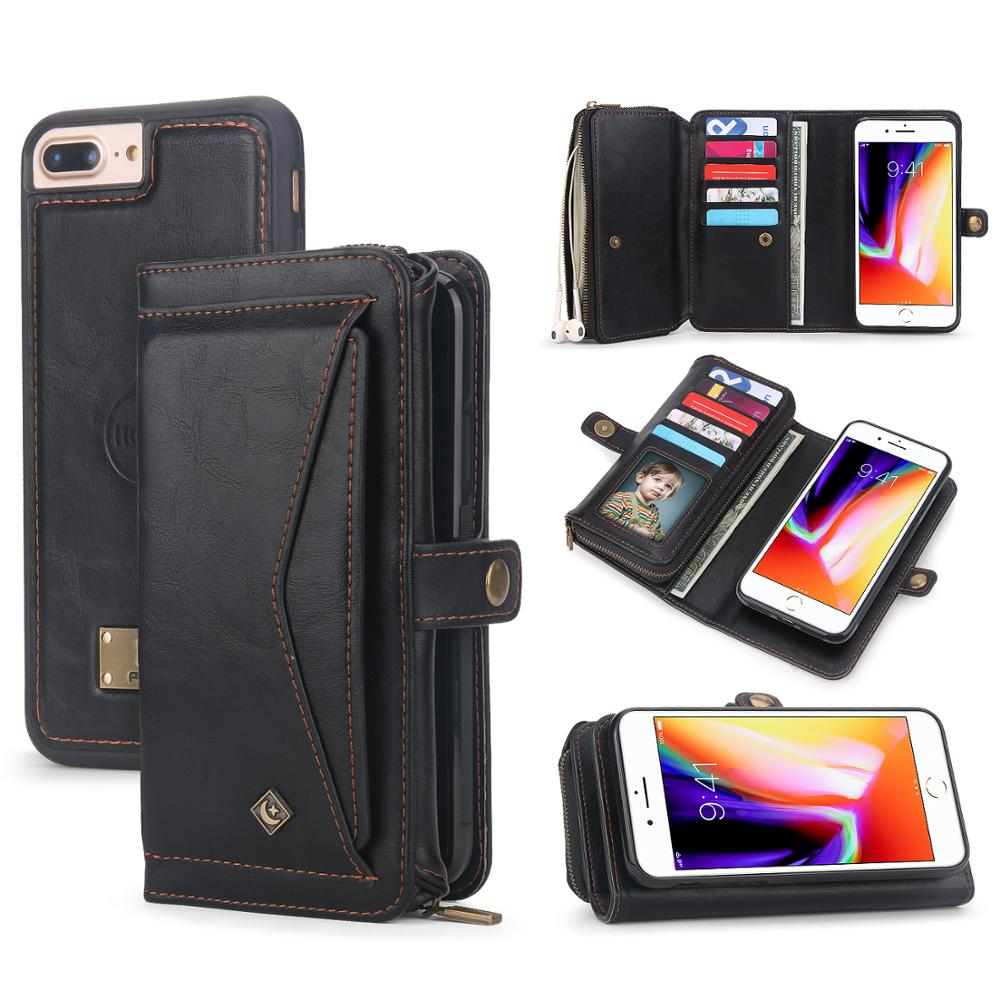 For Coque iPhone 7 8 Wallet Case 2 in 1 Detachable Leather Magnetic Flip Cover Case