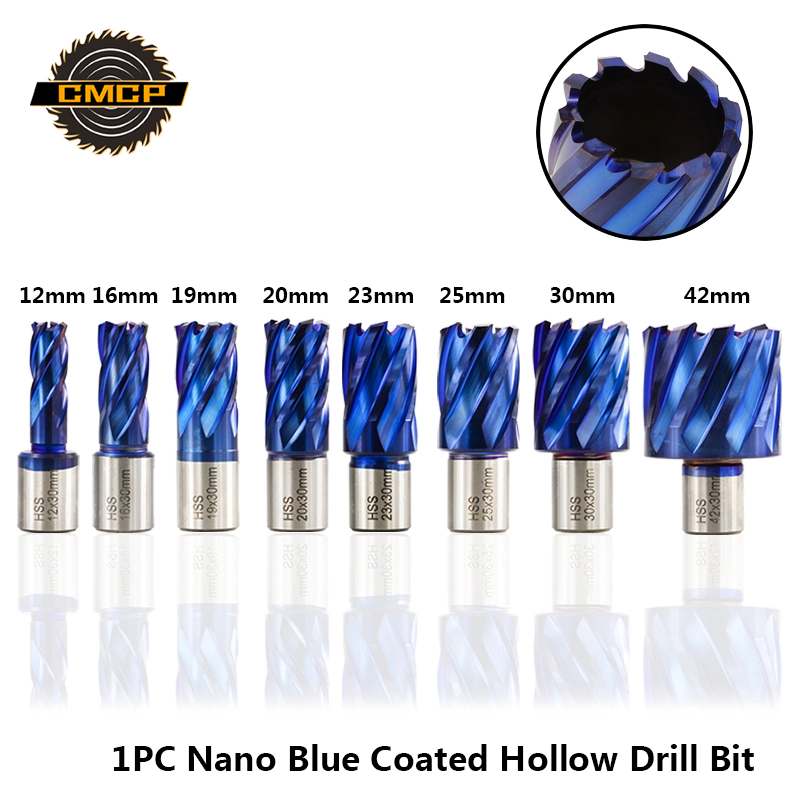 CMCP 1pc Nano Blue Coated 12/16/19/20/23/25/30/42mm Hollow Drill Bit For Metal HSS Core Drill Bit Cutting Depth Hole Cutter