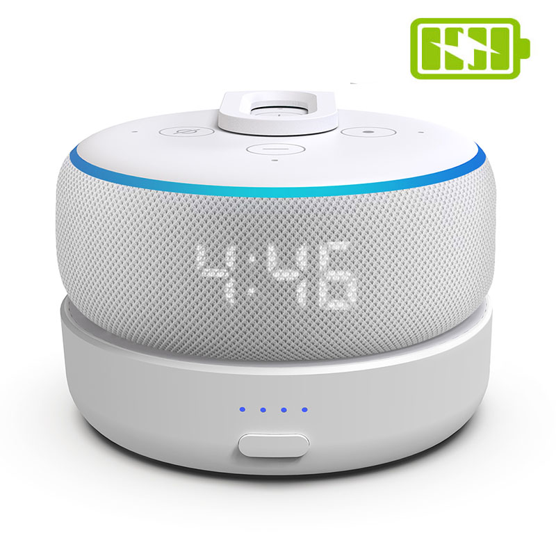 GGMM Portable Battery Base For Echo Dot 3rd Tiny Docking Station With 5200mAh Rechargeble Battery 8H Play White Power Bank Cover