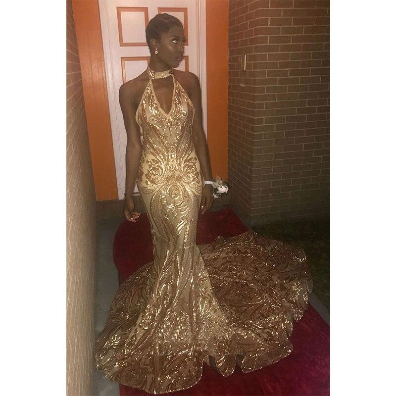 Champagne or paillettes dentelle licou cou robe de soirée formelle sirène longue robe de bal