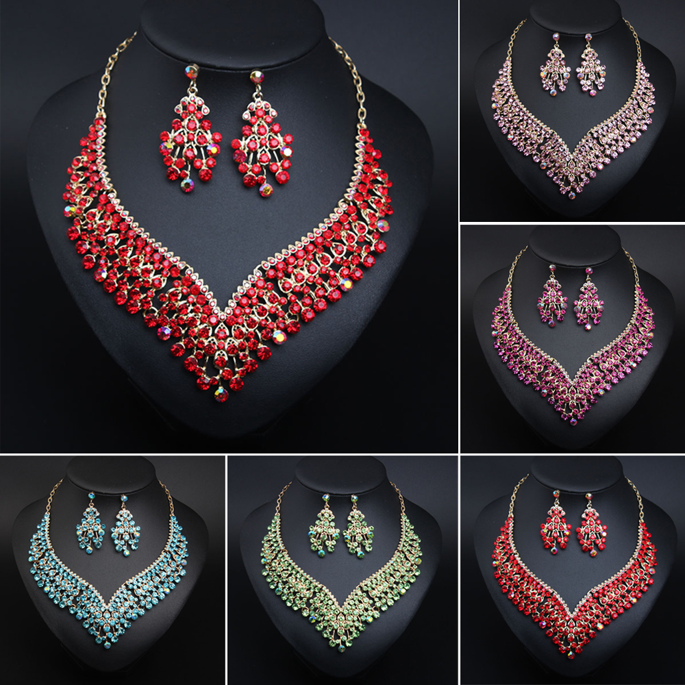 Luxurious Bridal Jewelry Sets Wedding Rhinestone Crystal Necklace Earring Set Women's Party Costume Accessories Indian Jewellery