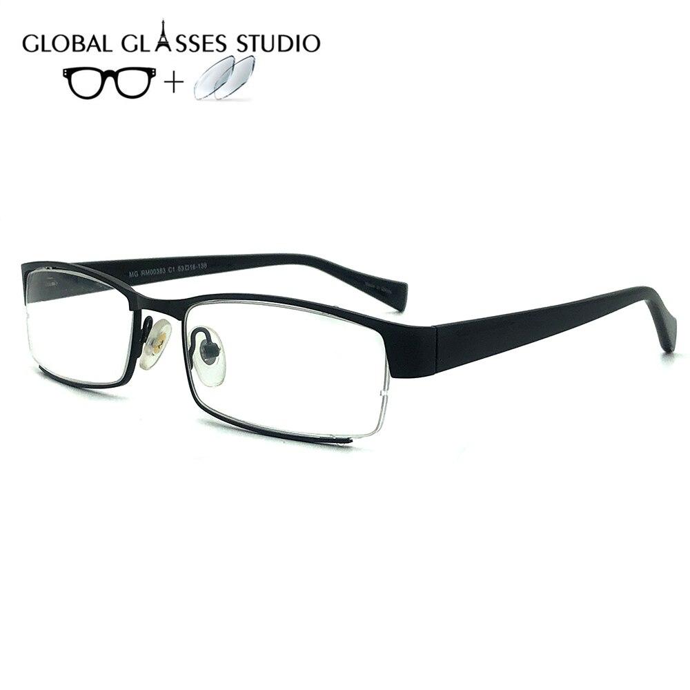 Women Or Men  metal Glasses  Frame Eyewear Eyeglasses Reading Myopia Prescription Lens 1.56 Index RM00383 C1
