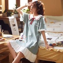 Summer Cute Women Sleepwear M 5XL Nightgowns Home Wear Girls Sleep Lounge Nightgrowns Dress Home Clothing
