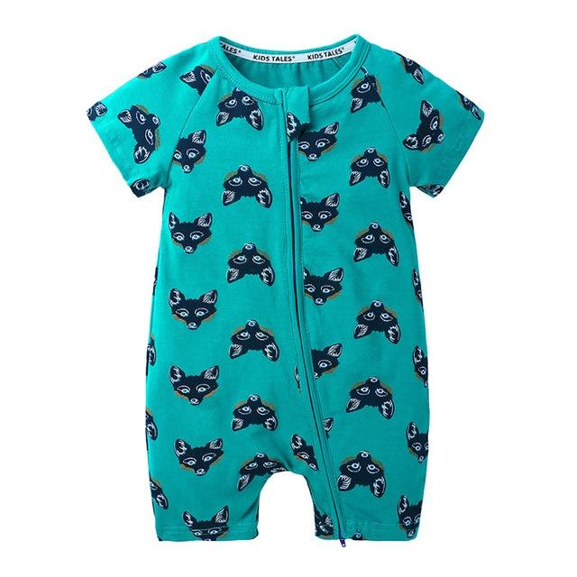 Newborn baby boy girls cotton romper kids summer cartoon fox printed clothes 0U