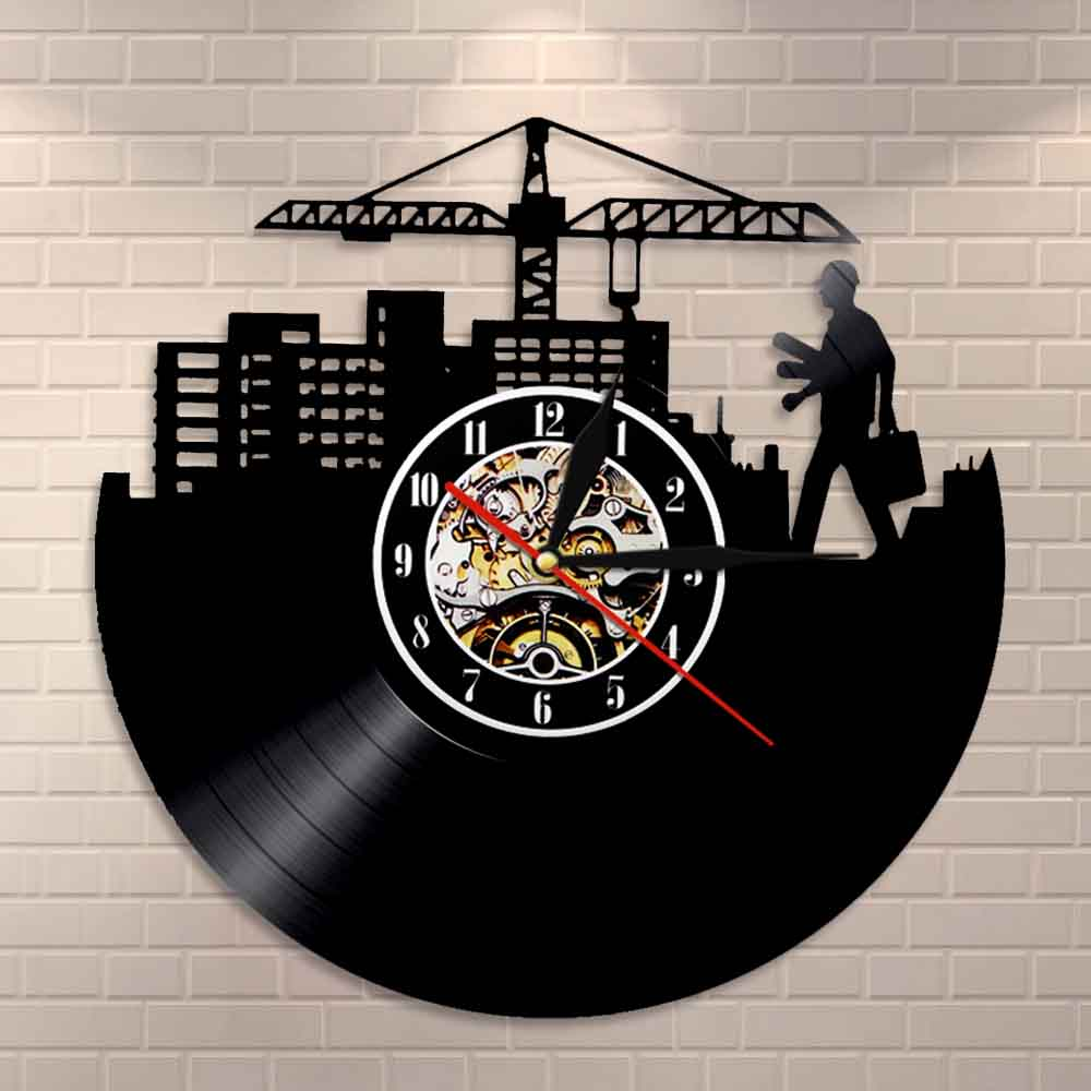 Engineer Srchitecture Silhouette Wall Art Wall Clock Architect Vintage Vinyl Record Clock Laborers Decorative Home Wall Clock