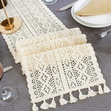 Classical Nordic Table Flag Rectangular Tablecloth Cotton Lace Fringed Bohemian Wedding Bride Shower Family Table Decoration