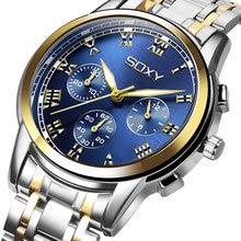 SOXY Men Watch Gold False Three Eye Dial Design Cool Steel Quartz Watch Luxury Fashion Luminous Big Dial Men Wristwatch Clock soxy relogio wat1316