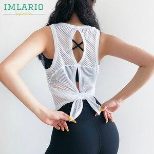 IMLARIO спортивные майки в полоску с открытой спиной, легкие спортивные рубашки, сверхдышащая Спортивная одежда для йоги