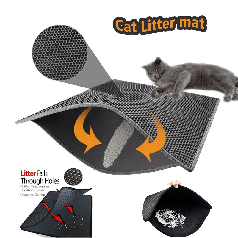 Waterproof Pet Cat Litter Mat Portable Double-Layer EVA Waterproof Cats Mat Supplies Trapper Pad Smooth Surface Breathable Holes