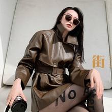 Женское двубортное пальто из ПУ кожи, осенняя Свободная куртка средней длины с толстой подкладкой из хлопка, NS1763