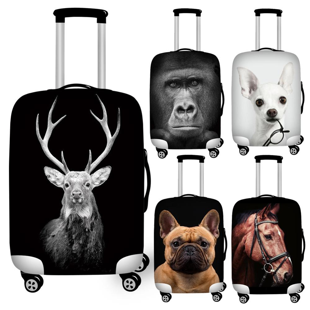 Twoheartsgirl Stretch Dog ELK Horse Print Suitcase Cover For Travel Elastic 18-32inch Travel Luggage Covers Waterproof Covers