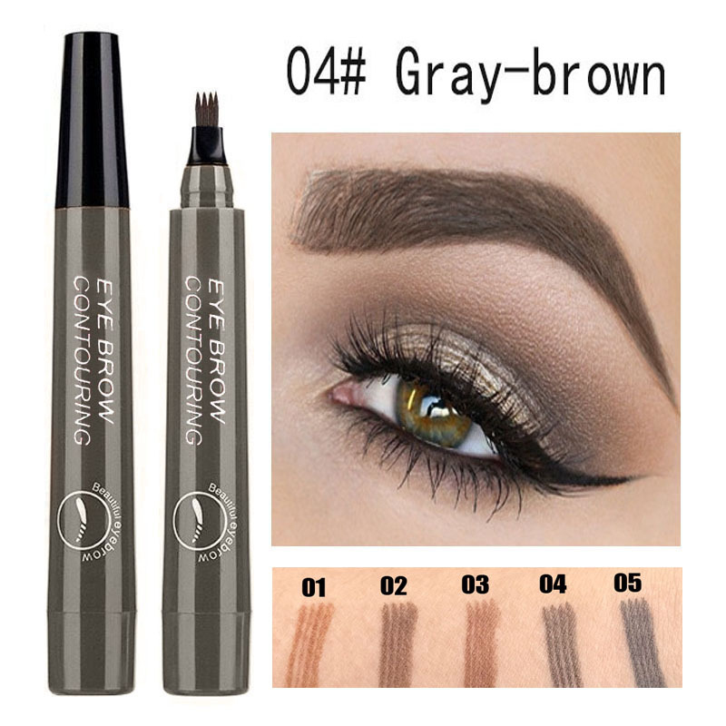 Waterproof Natural Eyebrow Pen Four-claw Eye Brow Tint Fork Tip Eyebrow Tattoo Pencil Long Lasting Easy to use Cosmetics TSLM1(China)