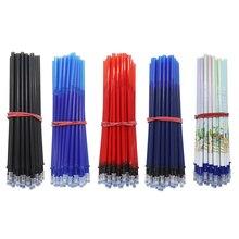 50Pc/Set Office Gel Pen Erasable Refill Rod 0.5mm Washable Handle Blue/Black Ink School Stationery Writing Tool