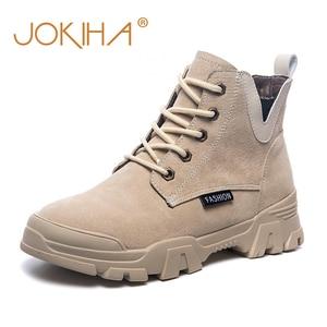 Image 2 - 2020 chính hãng Ủng Da Cá Nữ Thời Trang Giày Sneakers Nữ Phẳng Nền Tảng Giày Boot Nữ Bootties Thu Giày