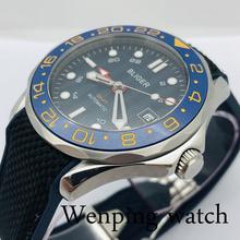Bliger 41mm Men's Top Luxury GMT Mechanical Watch Sapphire Glass Ceramic Bezel Blue Dial Date Rubber Strap Men's Automatic Watch