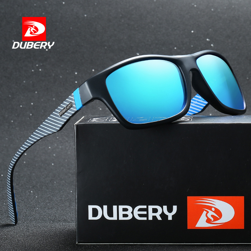 DUBERY Square Mirror Polarized Sunglasses Men Driver Shades Male Brand Design Vintage UV400 Black Summer Oculos Male 8 Colors