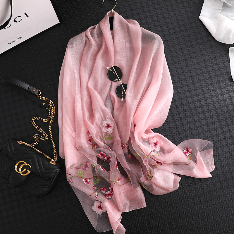 Brand 2019 new women silk wool scarves fashion Embroidery high quality soft wool scarf lady pashmina shawls bandana foulard wrap