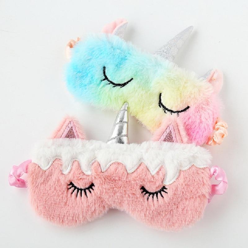 Christmas New Pink Unicorn Eye Shade Shade Colorful Plush Eye Shade Shade Sleep Mask Travel Show MOE Combination