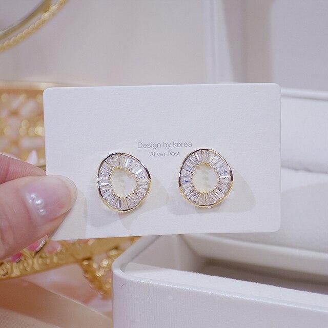 14k Real Gold Fashion Personality Irregular Circle Earring for Women Brilliant AAA Zirconia Stud Earring Brincos Wedding Pendant 4