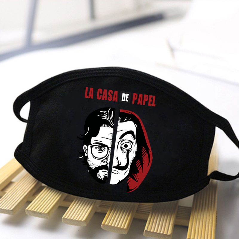 La Casa De Papel Horror Masks Men High Quality Dustproof Face Mask Black Mouth Muffle Washable Reusable Windproof Mask Women