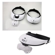 цена на Headband Magnifier Illuminated Magnifier Magnifying Glass 1X 1.5X 2X 2.5X 3.5X Head Loupe Magnifier With 5 Lens Repair Tool