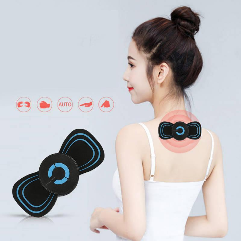 Portable 6 Modes Electric Cervical Spine Mini Massage Patch Vibration Muscle Relaxation Shoulder Neck Massager Rechargeable(China)