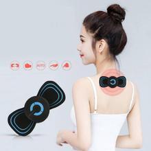 Portátil 6 modos eléctrico Cervical Spine Mini masaje parche vibración músculo relajación hombro cuello masajeador recargable