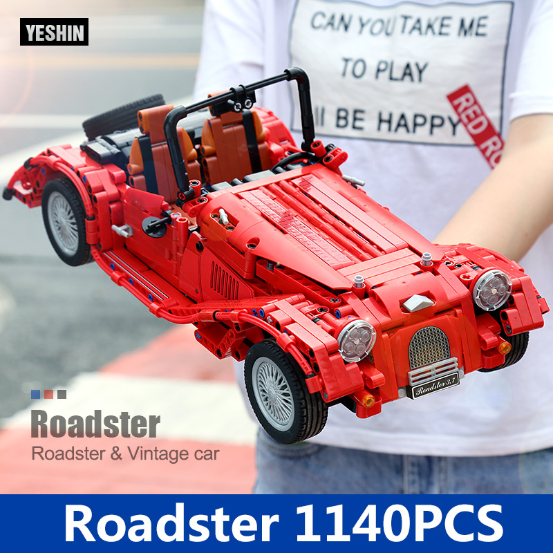 7062 1141PCS MOC Technic Jalopy red convertible car building blocks DIY Educational bricks toys for children