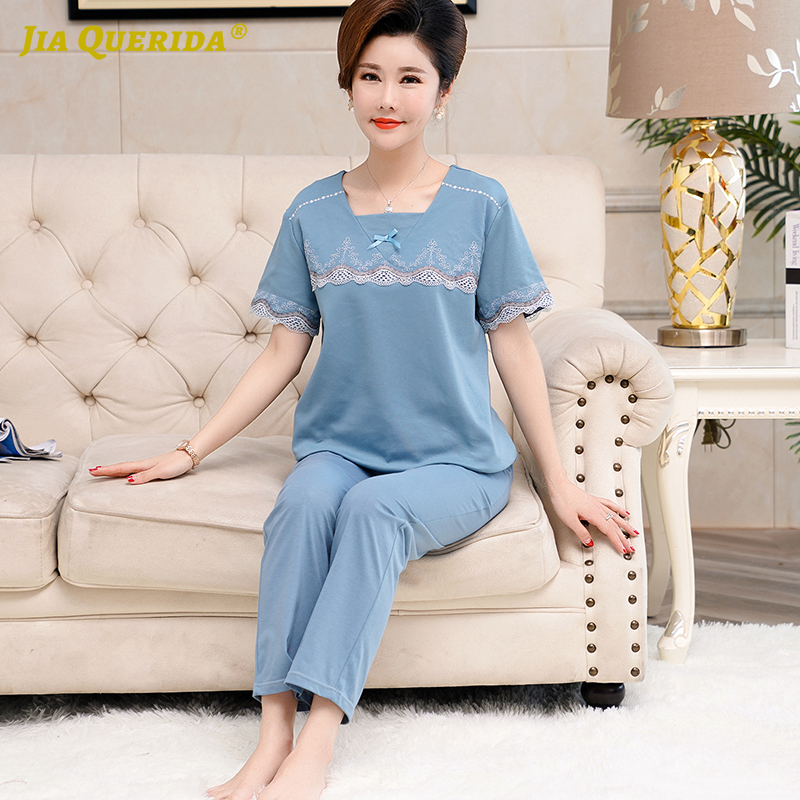 Women's Plus Size Sleepwear Pajamas Set For Women Cotton Solid Blue Bow Decorated Square Collar Summer New Ladies Pyjamas Pjs