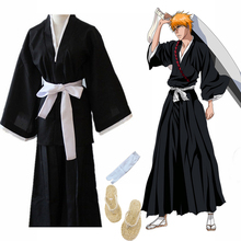 Japanese Traditional Kimono Samurai Bleach Kurosaki Ichigo Cosplay Costumes Robe Gown With Straw Sandals Naruto Luffy
