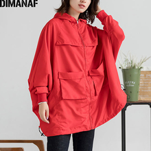 DIMANAF Plus Size Women Bomber Jacket Coat Oversize Autumn Casual Female Lady Outerwear Loose Zipper Hooded Pockets Clothing Red