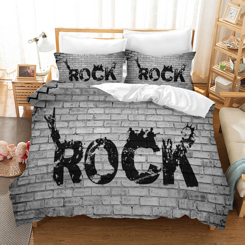 Rock and Roll Gesture 3d Bedding Set Duvet Covers Pillowcases Love and Peace Gesture Comforter Bedding Sets Bedclothes Bed Linen