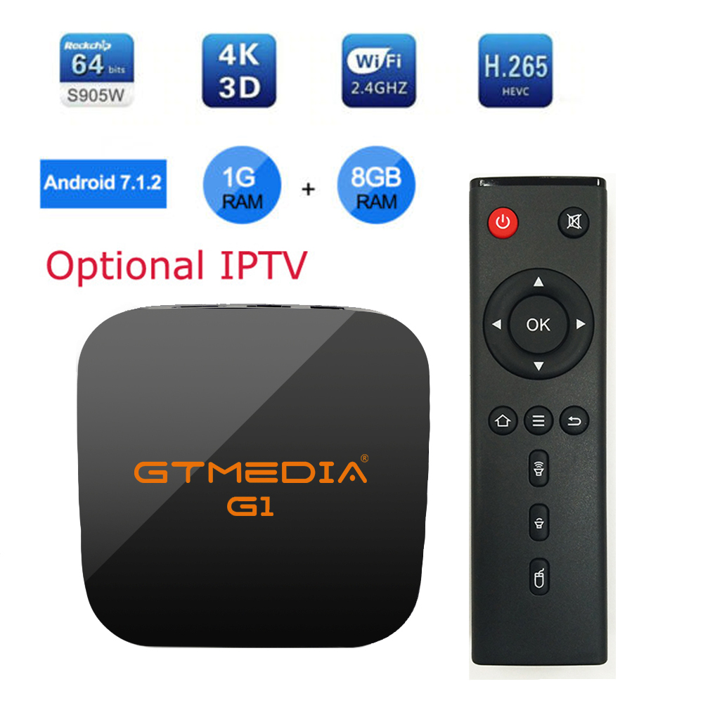 GTMEDIA G1 Android 7.1 Smart TV BOX S905W 1G 8G 4K 3D H.265 Wifi Netflix Media Player IPTV Receiver Play Store PKH96 Android BOX