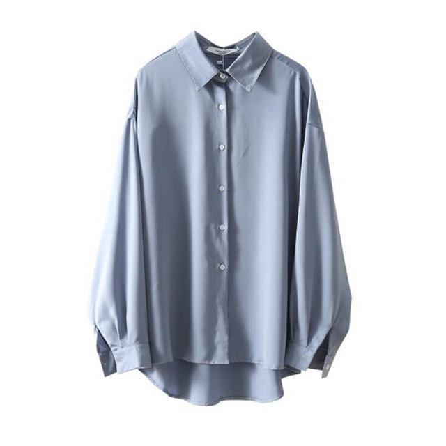 2020 Autumn Women Fashion Long Sleeves Satin Loose Blouse Vintage Femme V Neck Street Shirts Elegant Soft Blouse OF7527 4