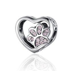 Hot Sale 100% Real 925 Sterling Silver Dazzling Pink CZ Charm Beads Fit Original Design Bracelet Pendant DIY Jewelry Making