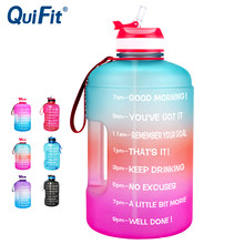 QuiFit – bouteille d'eau en plastique transparent avec paille, 3,78 l, 2,2 l, 1,3 l, 128oz, pour boire, outil de gymnastique, pichet, sans BPA, pour sportifs