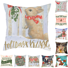 Fuwatacchi Christmas Cushion Cover  Snow Pillowcase Decorative Polyester Home Sofa Chair Decorative Merry Christmas 45*45