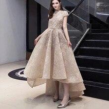 Luksusowe na szyję asymetryczna suknia wieczorowa z krótkim rękawem koronka frezowanie muzułmańskie suknie na bal maturalny dla damska suknia De Soiree LE4043