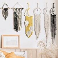 Colgante de estrella colgando de la Luna, tapiz bohemio de pared, decoración tejida a mano para el hogar, arte nórdico, borla, apartamento, dormitorio, decoración