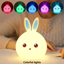 Mini Rabbit Silicone LED Night Light Baby Bedroom Bedside Lamp USB Rechargeable Child Touch Sensor Faucet Control Light Gift