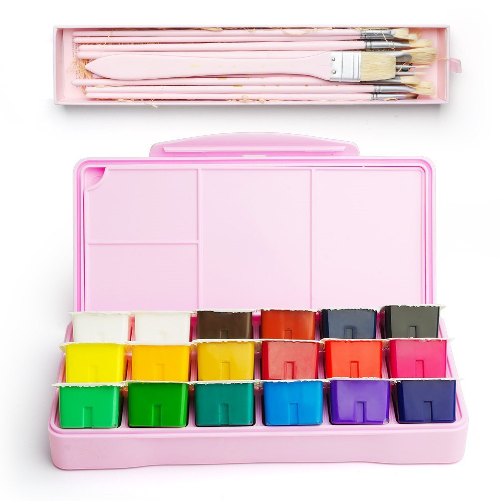 New Gouache Paint Kit 18 Colors   30ml Paint Set  10pcs Hog Bristle Paint Brushes Unique Jelly Cup Design Portable Case
